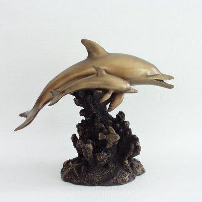 Dolfijn met jong 19x15cmH