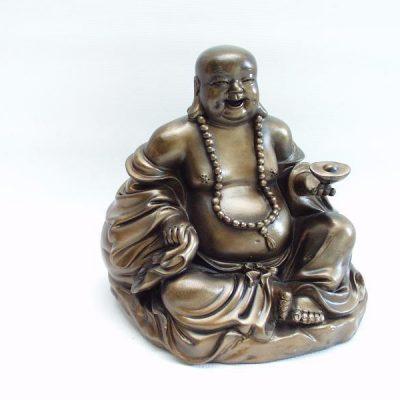 Boeddha bronskleur zittend 15cmH