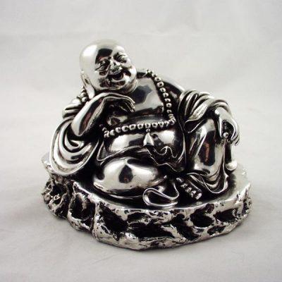 Boeddha zittend lachend zilverplate 12cmH