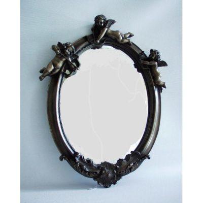 Spiegel ovaal met 3 engelen bronskleur 37x50cmH