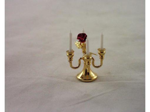 Kandelaar 4-armig met roos miniatuur 2.5cmH