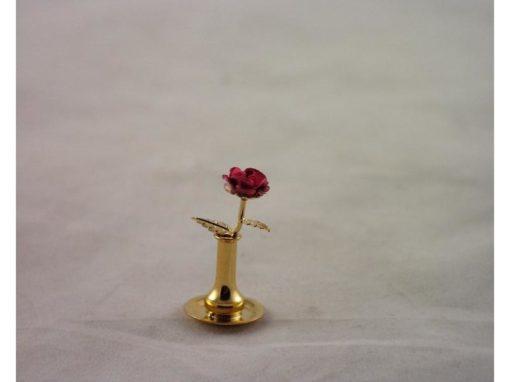 Vaasje met roos miniatuur 3cmH