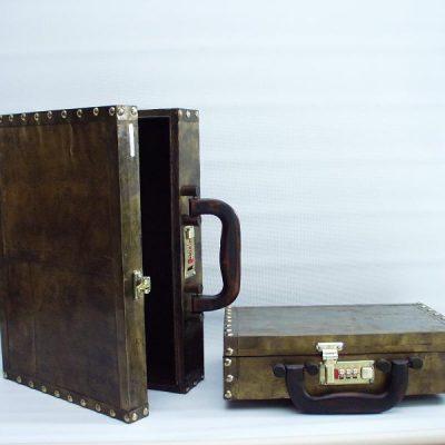 Aktentas hout bronskleurig set 2-delig 35x25cm 29x20cm