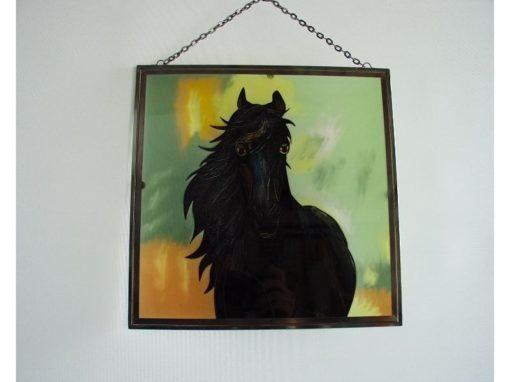 Raamdecoratie paard zwart 26x26cm
