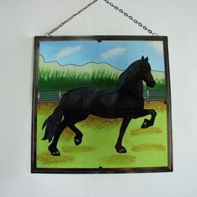 Raamdecoratie paard lopend 26x26cm
