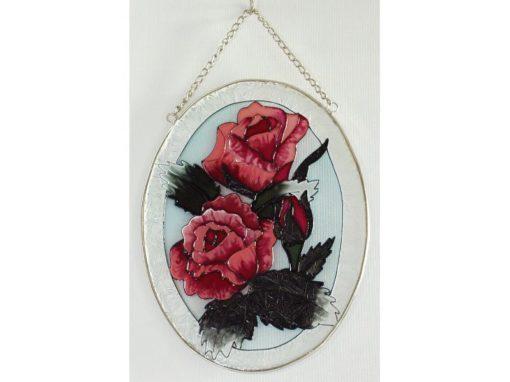 Raamdecoratie ovaal roos 15x20cmH