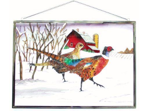 Raamdecoratie fazanten 52x36cm