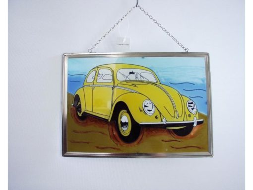 Raamdecoratie VW-kever geel
