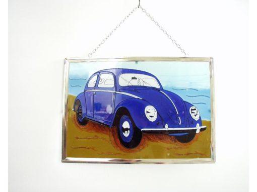 Raamdecoratie VW-kever blauw 30x21cmH