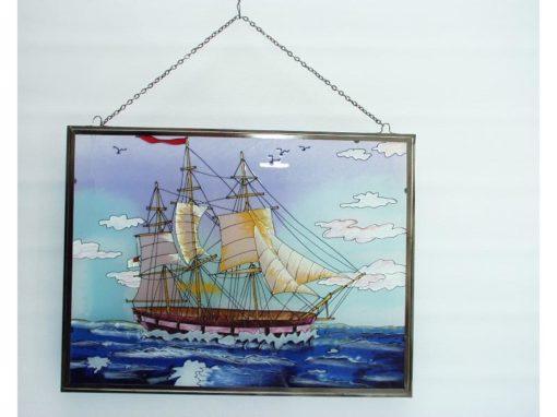 Raamdecoratie glas zeilschip blauw