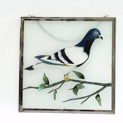 Raamdecoratie glas postduif 26x26cm