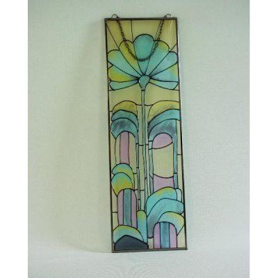 Raamdecoratie glas art deco 13x41cmH