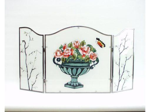 Raamdecoratie drieluik bloemenvaas met vlinder 58x31cmH