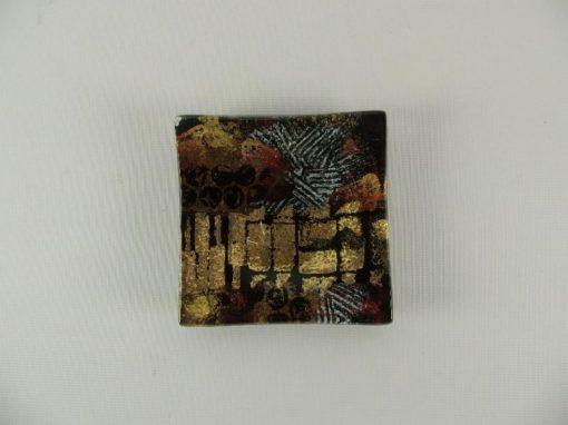 Schaaltje glas zwart/goud 9x9cm