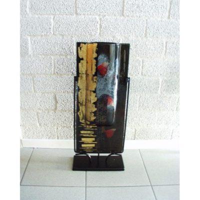 Vaas glas zwart/goud hoog langwerpig in standaard 25bx61cmH