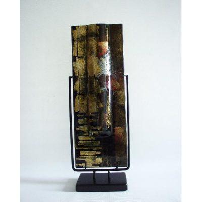 Vaas glas zwart/goud smal in standaard 13x40cmH