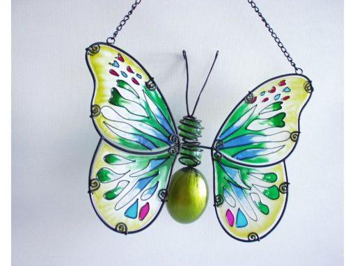 Raamhanger glas vlinder groen 23cmBx18cmH