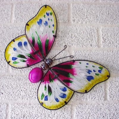 Vlinder glas paars wanddecoratie 35x26cmH