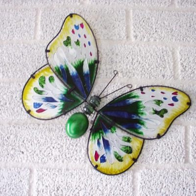 Vlinder glas groen wanddecoratie 35x26cmH