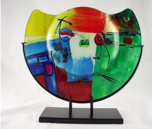 Vaas glas multicolor in standaard halfrond Ø37cm