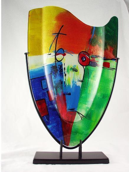 Vaas glas multicolor in standaard 37x59.5cmH