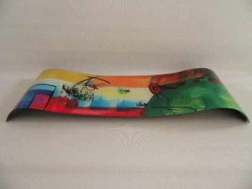 Schaal glas multicolor golvend 17x58cmL