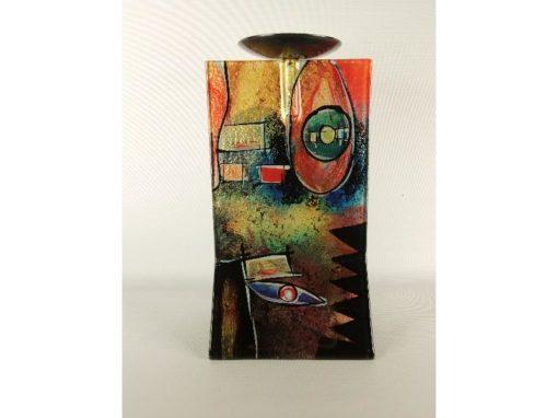 Kandelaar glas gekleurd 14x13x25.5cmH