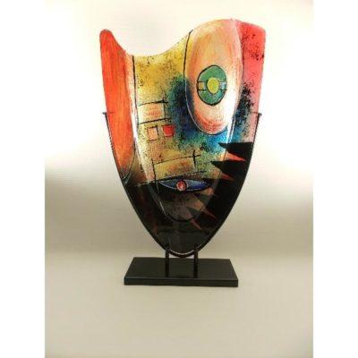Vaas glas ovaal gekleurd in standaard 37x57cmH