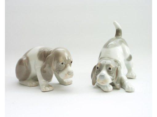hondjes grijs/bruin stel keramiek 11.5cmLx9.5cmH