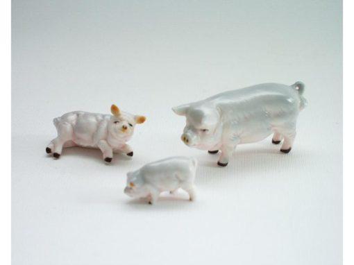 varkens set rose porselein 5.5cmLx3cmH