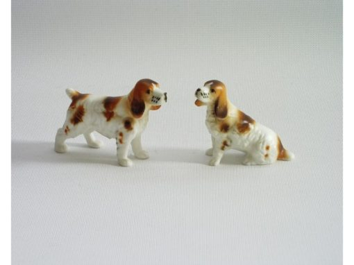 cocker spaniel set porselein 6cmLx4cmH