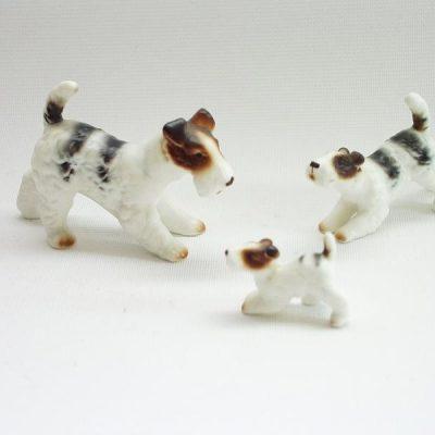 foxterrier zwart/bruin/wit set porselein 7cmLx4cmH