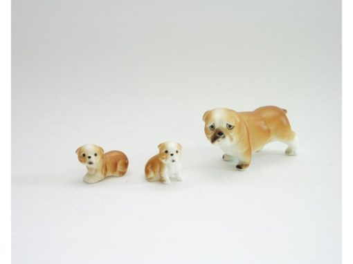 bulldog set bruin porselein 5cmLx3cmH