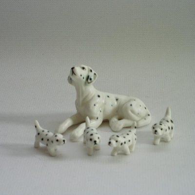 Dalmatiër set met 4 puppies 6cmLx3.5cmH