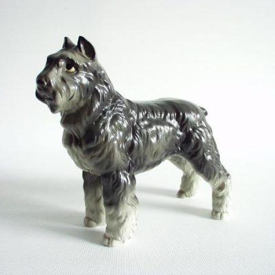 Bouvier porselein grijs 14cmLx13.5cmH