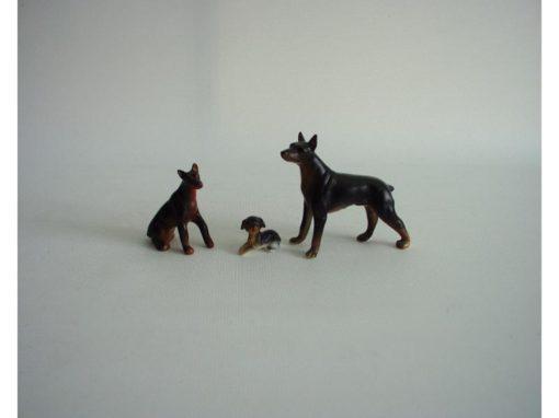 Dobermann set mat zwart/bruin 7cmLx5.5cmH