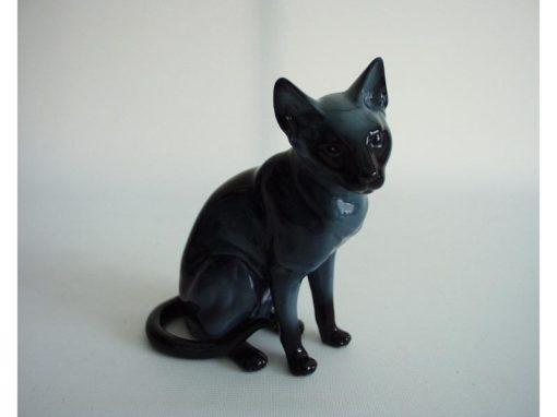 Kat porselein blauw zittend 13cmH