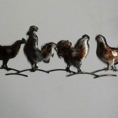 Wanddecoratie metaal kippen 88cmLx34cmH