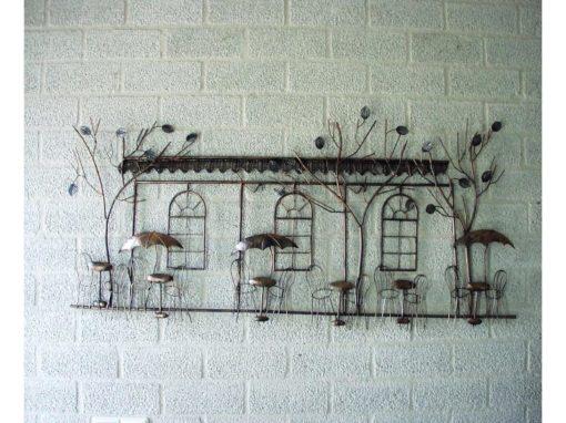 """Wanddecoratie metaal """"terras"""" 122cmLx61cmH"""