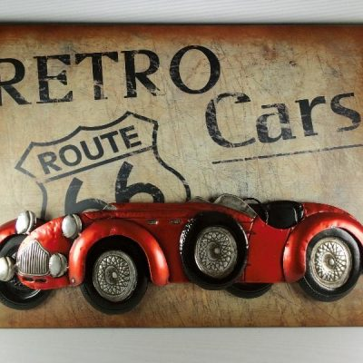 Wanddecoratie metaal auto 80x58cmH