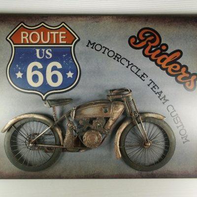 Wanddecoratie metaal motor Riders 80x58cmH
