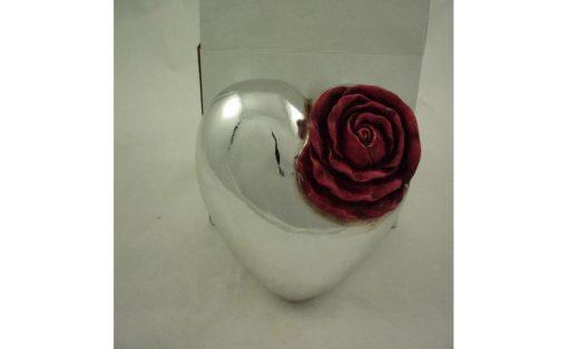 Hart zilverkleur met roos groot 18x17cm