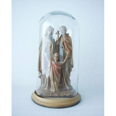 Maria met Jozef en kind onder stolp 27cmH