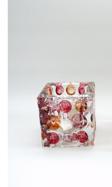 Sfeerlicht vierkant glas rood/bruin 6cmH