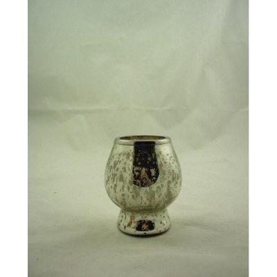 Sfeerlicht zilverkleur glas met nikkel ring 12cmH