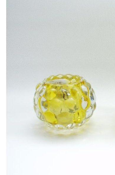 Sfeerlicht glas geel rond 7cmH