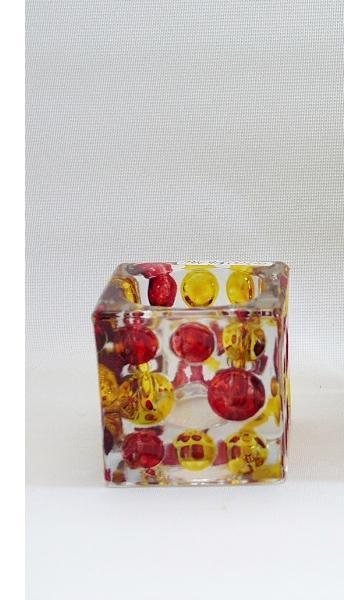 Sfeerlicht glas vierkant rood/geel 6cm