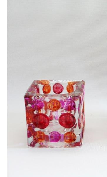 Sfeerlicht glas vierkant oranje/fuchsia/rood 6cm