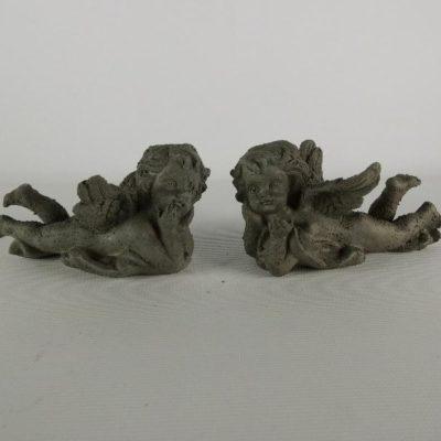 Engeltjes liggend grijs stel 11cmL