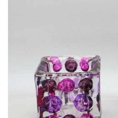 Sfeerlicht glas vierkant paars/fuchsia/lila 6cm